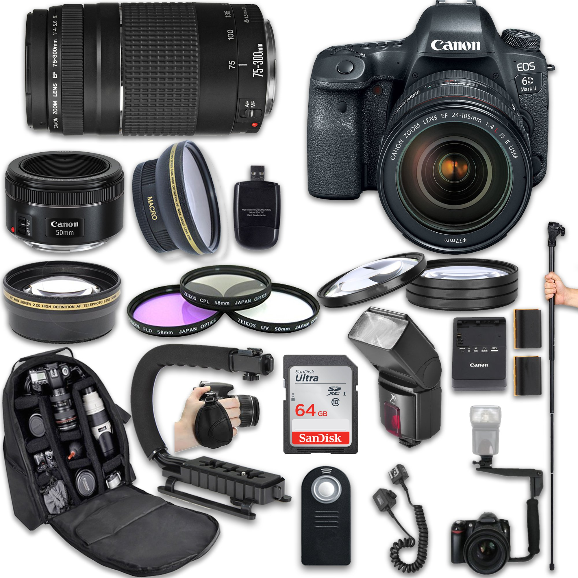 Canon EOS 6D Mark II DSLR Camera with Canon EF 24-105mm f/4L IS II USM Lens + Canon EF 75-300mm f/4-5.6 III Lens + Canon EF 50mm f/1.8 STM Lens + Fully Dedicated TTL Flash (23 items kit) by Canon