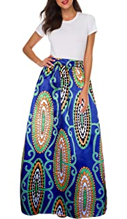 9996ed498fc Afibi Women African Printed Casual Maxi Skirt Flared Skirt Multisize A Line  Skirt (S-