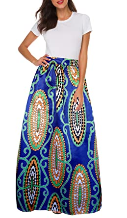 0054bc1595c Amazon.com  Afibi Women African Printed Casual Maxi Skirt Flared Skirt  Multisize A Line Skirt (S-3XL)  Clothing