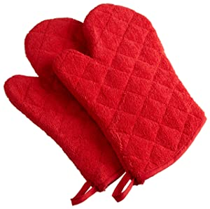 DII 100% Cotton, Terry Oven Mitt Set Machine Washable, Heat Resistant, 7 x 13, Red, 2 Piece