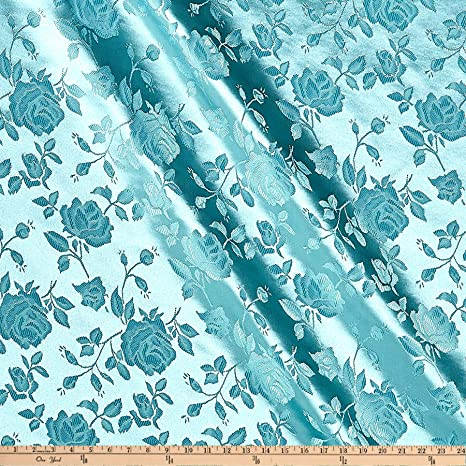 2 Metre Turquoise Waves Design Chinese Brocade Fabric Shiny Silky 45 inch Wide
