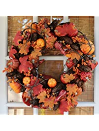 Montpelier Silk Fall Door Wreath 22 Inches   Extremely Full Autumn Wreath  For Harvest Front Door