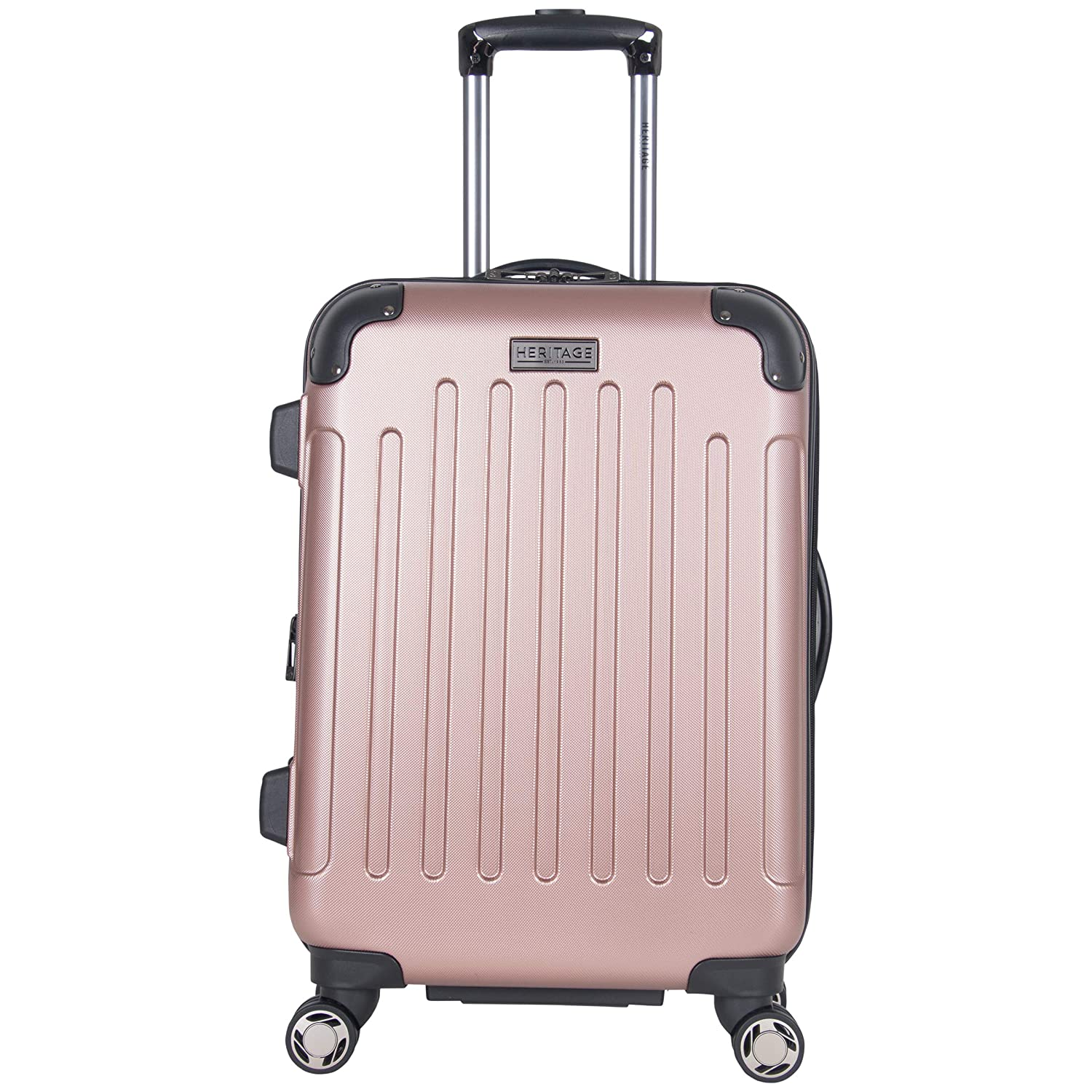 Heritage Travelware Logan Square 20 Lightweight Hardside Expandable 8-Wheel Spinner Carry-On Suitcase, Metallic Rose Gold