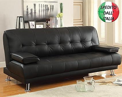 Sofá-cama reclinable de 3 plazas en piel sintética con ...