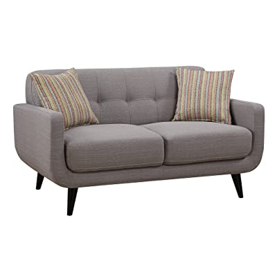 AC Pacific Crystal Collection Upholstered Gray Mid-Century Tufted Loveseat with 2 Accent Pillows, Gray