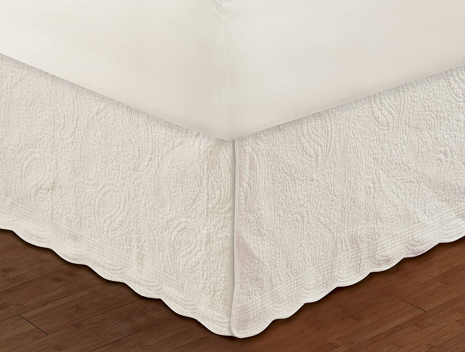 King Ivory Greenland Home Paisley Quilted Bed Skirt