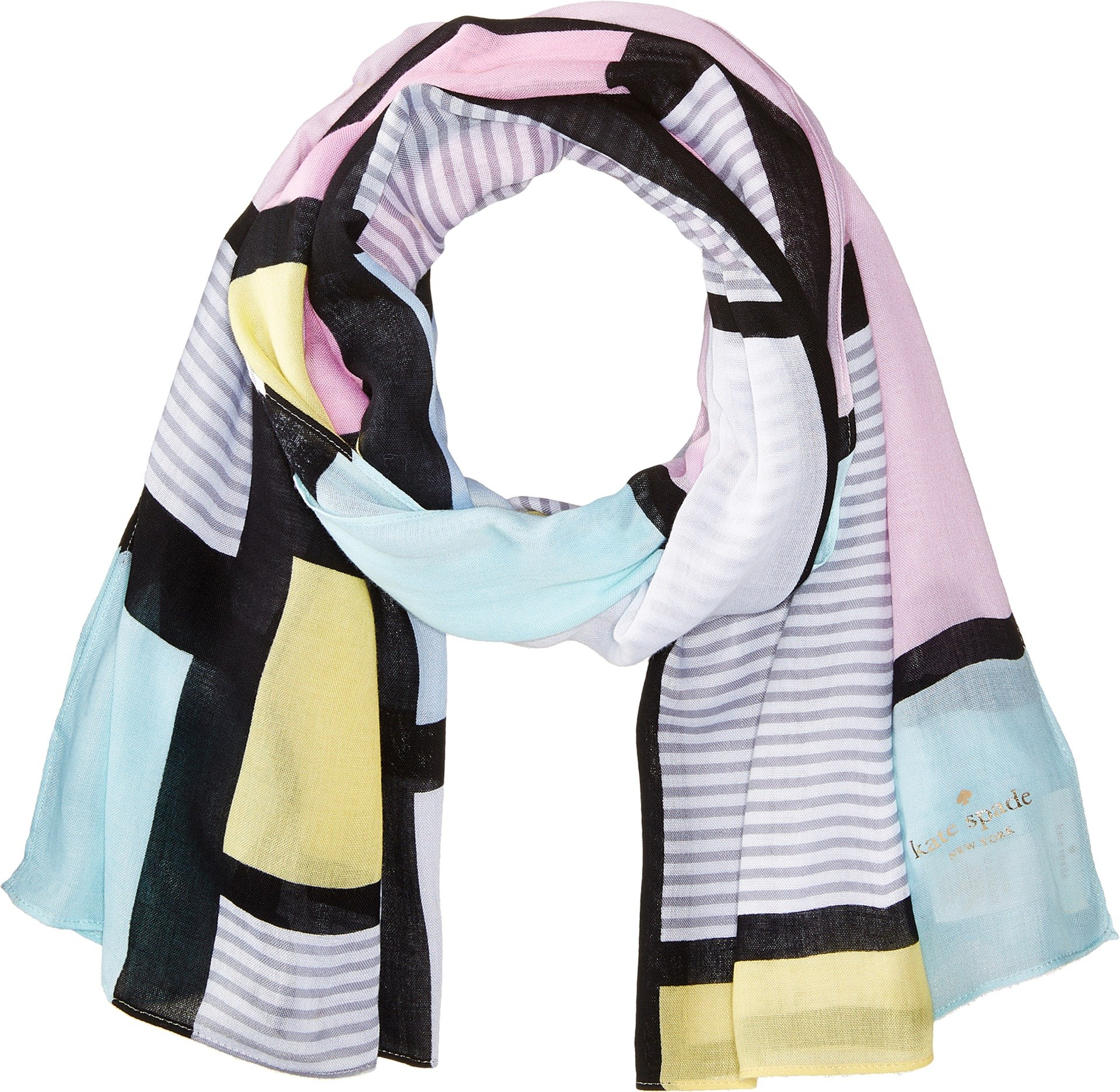Kate Spade New York Women's Color Block Oblong Scarf Valentine Pink One Size by Kate Spade New York