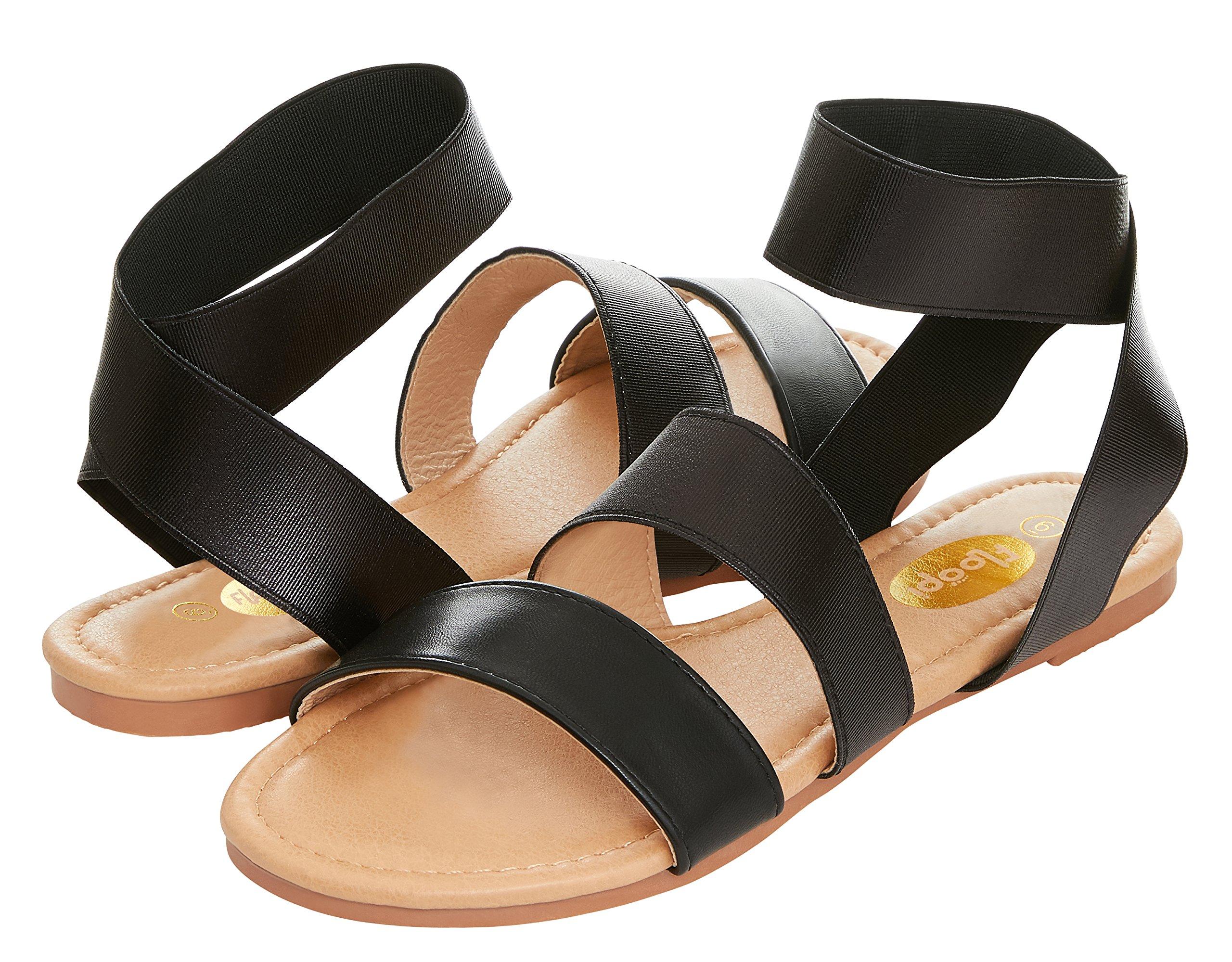 Floopi Womens Summer Elastic Ankle Strap Gladiator Strappy Flat Sandal (9, Black-506)