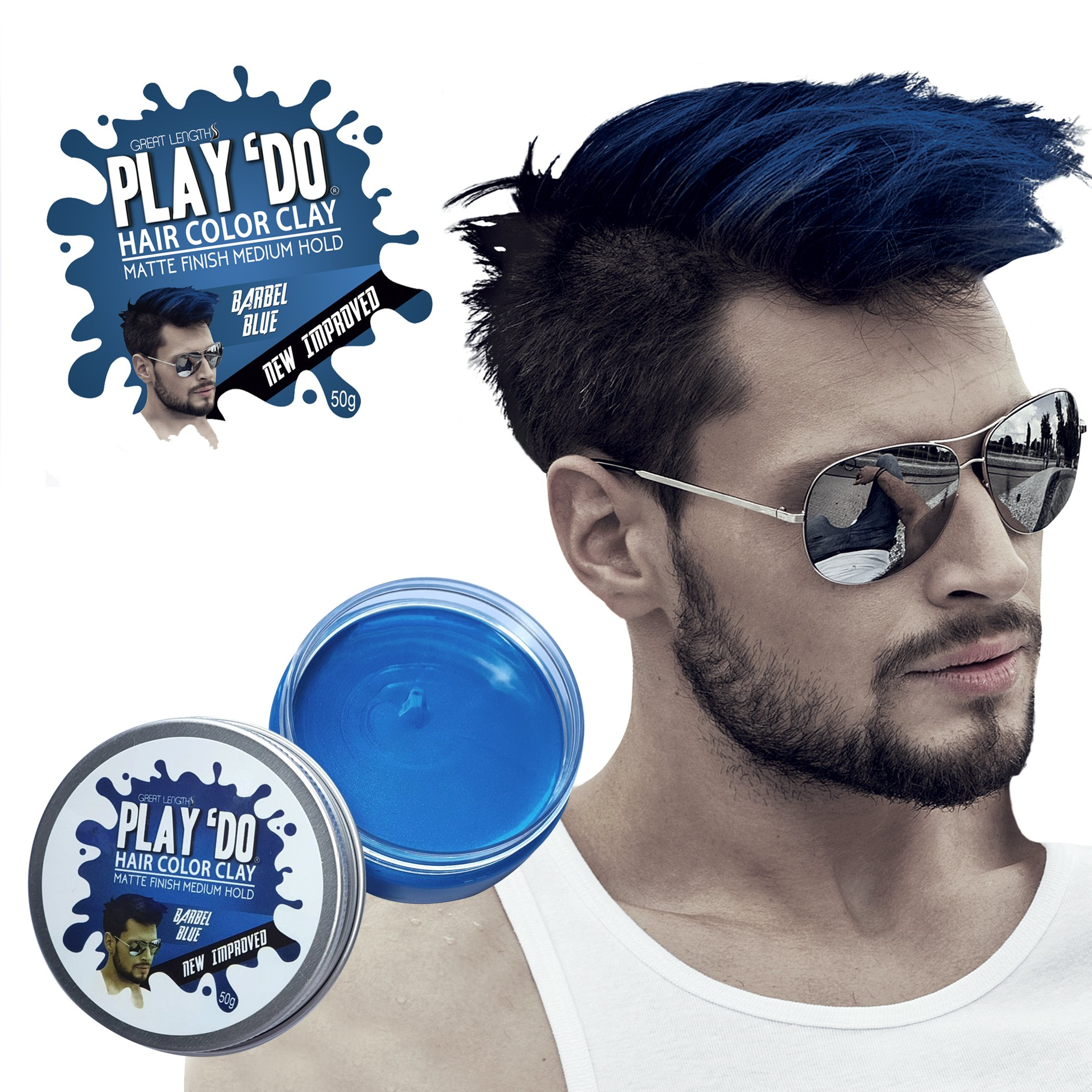 Play 'Do Temporary Hair Color, Hair Wax, Hair Clay, Mens Grooming, Blue hair dye(1.8 ounces) by Great Lengths