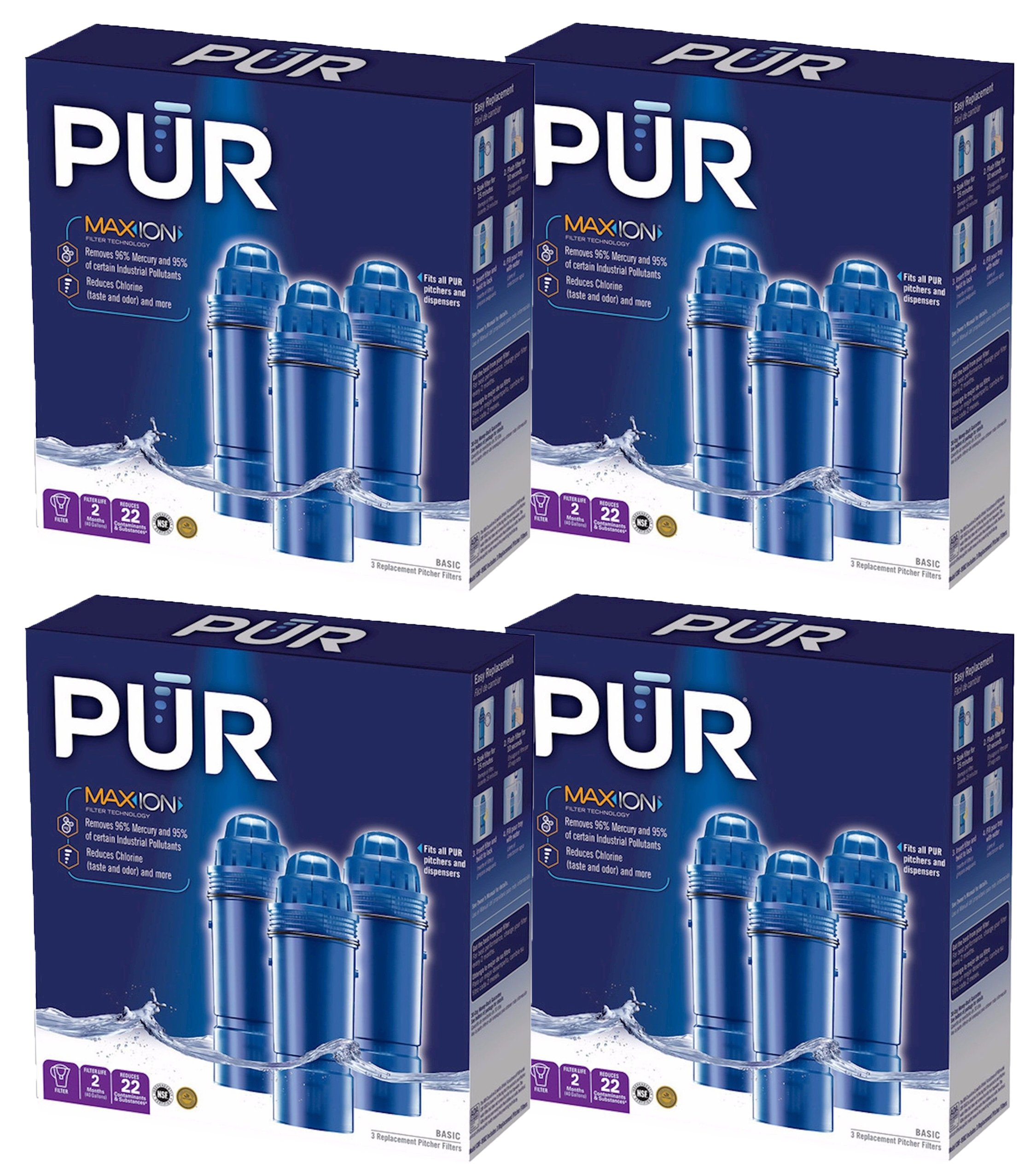 PUR Water Filters Provide Up to 120 Gallons of Clean Water CRF-950Z-3 | Fits Any Pitcher Replacement or Dispensers (PACK OF 12) by PUR