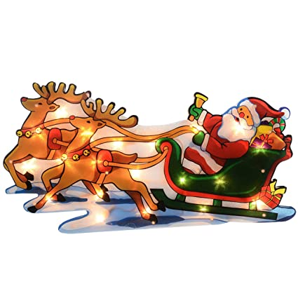 Werchristmas Pre Lit Santa And Sleigh Reindeer Double Sided Window