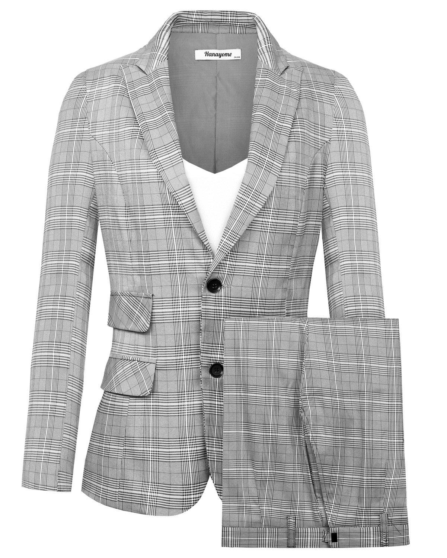 Hanayome Women's Suits Two Buttons 2 Pcs Casual Blazer Flat Front Skinny Pants Set MI5 (Grey, 16W)