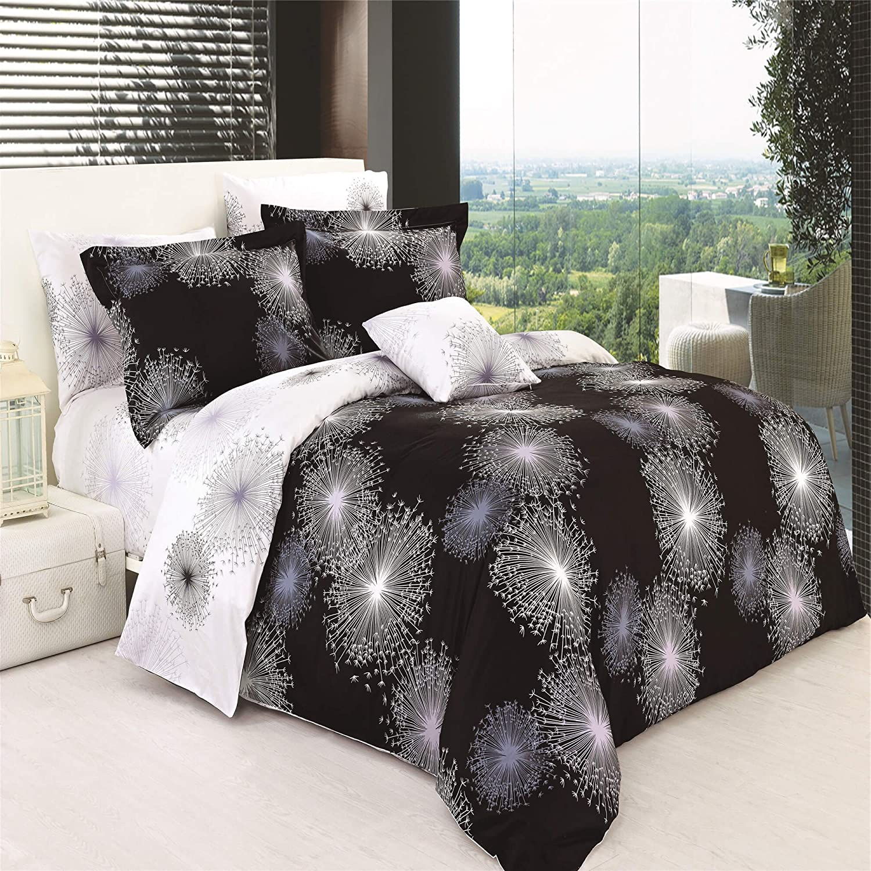 North Home SPLENDORDCTW 100/% Cotton Duvet Cover Set Twin Black 4 Piece