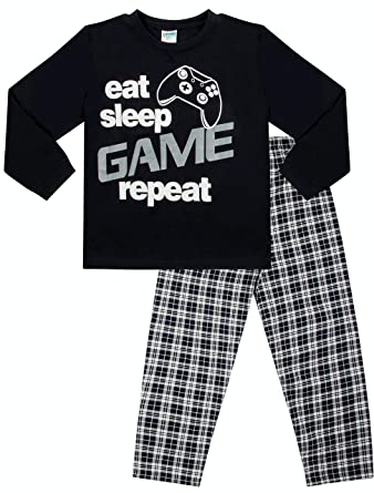 Boys Eat Sleep Game Long Pyjamas 9 to 13 Years Gamer PJs Blue (13-14 Years  158-164cm)  Amazon.co.uk  Clothing a9f16e8f7