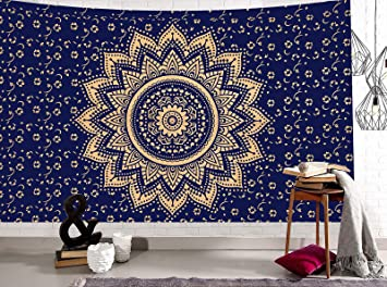 TheUrbanStreet Gold Navy Blue Mandala Ombre Twin Wall Hanging Tapestry,  Hippie Bohemian Wall Art Tapestries