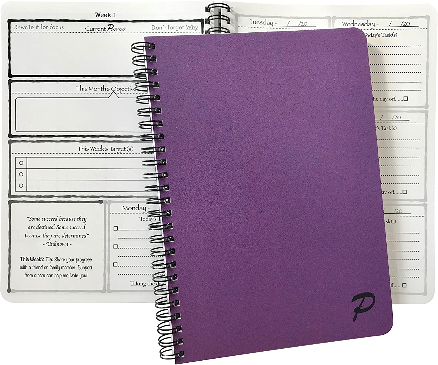 Pursuit Goal Journal - A Unique, Down-to-Earth Method for Productivity, Motivation, Mindfulness, and Goal Planning. 6 x 8.5 inch. (Purple)