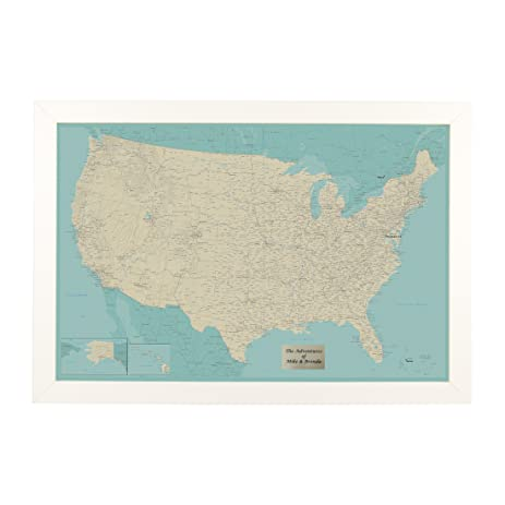 personalized teal dream usa push pin travel map with textured white frame and pins 24 x