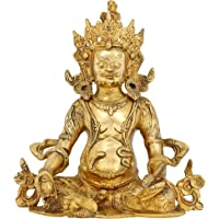 Indian Gifts Kuber Statue Figurine Hindu God of Wealth Diwali Puja Brass 10 Inch