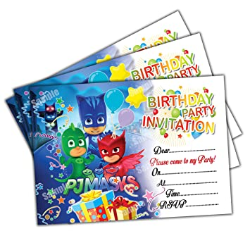 20 X Pj Masks Kids Birthday Party Invitations Invites Cards Quality Girls Boys