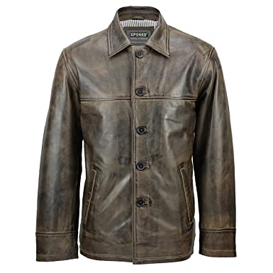 XPOSED Mens Real Leather Vintage Button Box Jacket Antique Washed Brown Classic Reefer Coat [XS