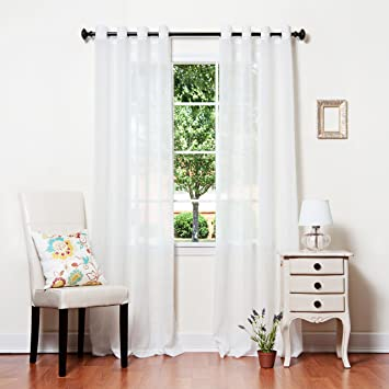 Best Home Fashion Crushed Voile Sheer Curtains   Antique Bronze Grommet Top    White   52u0026quot