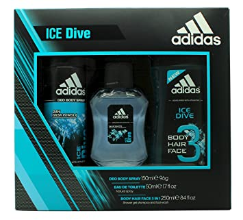 1a7f4b8f3603 Adidas Ice Dive Gift Set 50 ml EDT + 150 ml Shower Gel + 150 ml Deodorant  Spray  Amazon.co.uk  Beauty