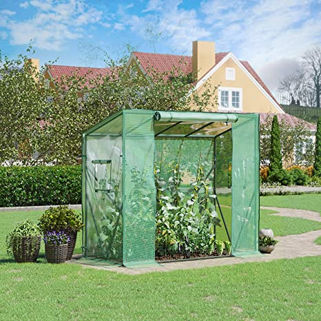 SONGMICS Invernadero para Jardín, Vivero de Plantas con Puerta Arrollable y Ventana, Casa de Cultivo para Verduras, Frutas y Tomates, Fácil Montaje, 200 x 77 x 149/169 cm, Verde GWP20JBV1: Amazon.es: Jardín