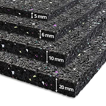 Etm - Alfombra antivibración (60 x 60 cm, goma insonorizante, uso ...