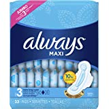 Always Maxi, Size 3, Extra Long Super Pads With Wings, Unscented, 33 Count