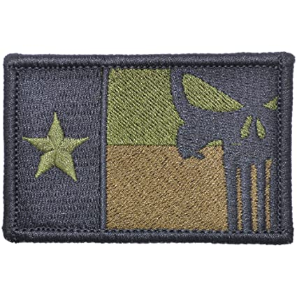 Amazon.com  Texas State Flag with Punisher Skull - 2x3 Hat Patch ... 5a831a8d87d