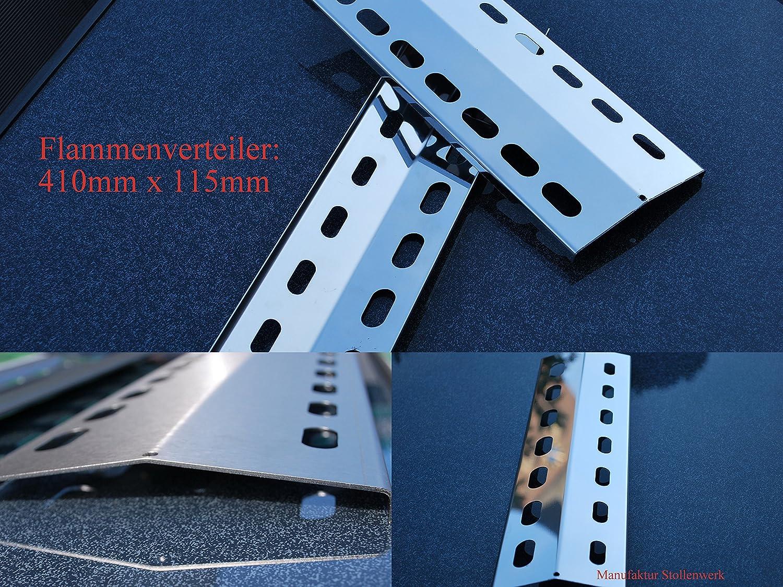 V2A, 505mm x 155mm Flammenverteiler Edelstahl-Manufaktur Gasgrill ...