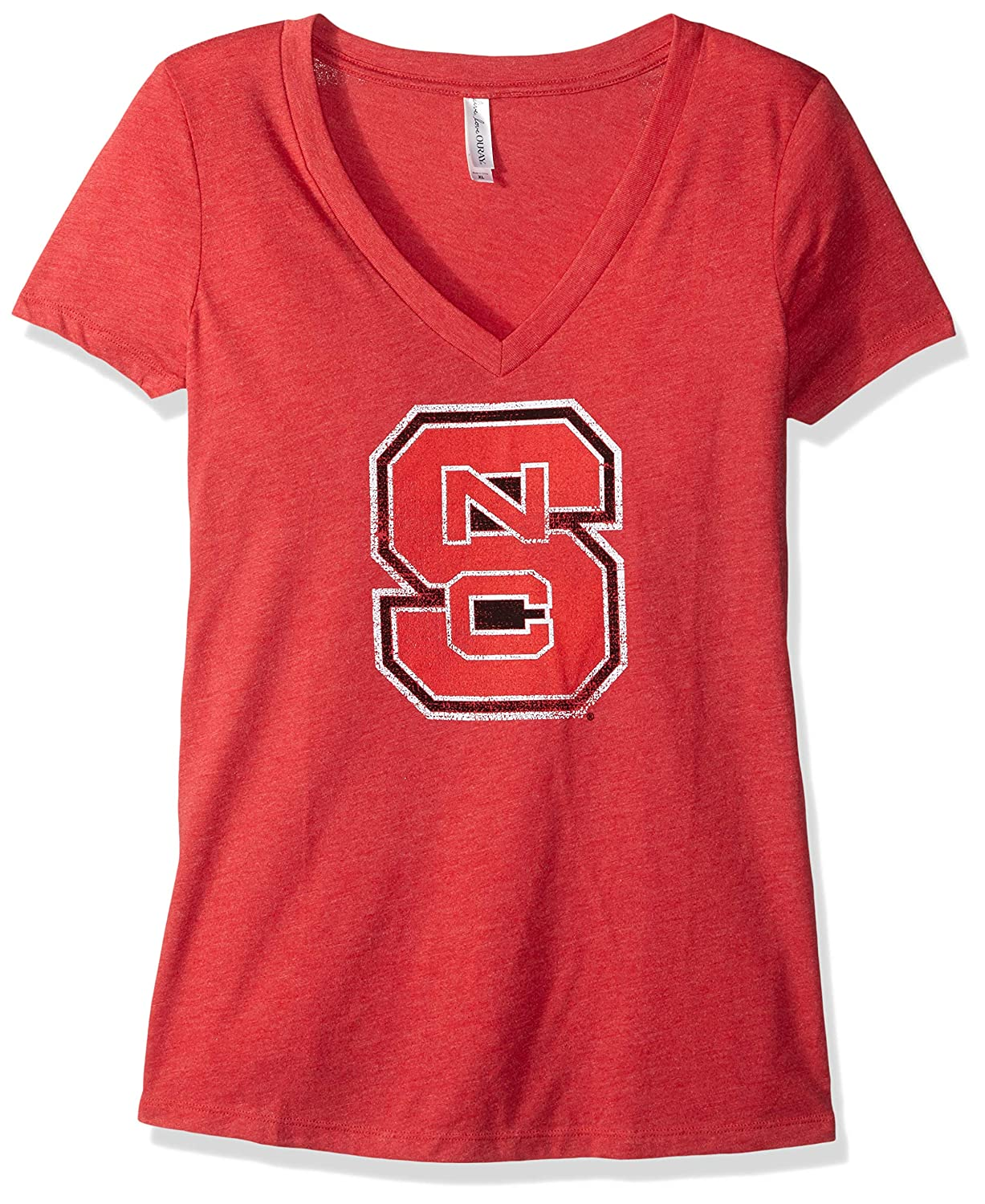 Vintage Red 2X NCAA North Carolina State Wolfpack Womens Tri Blend Deep V Short Sleeve Tee