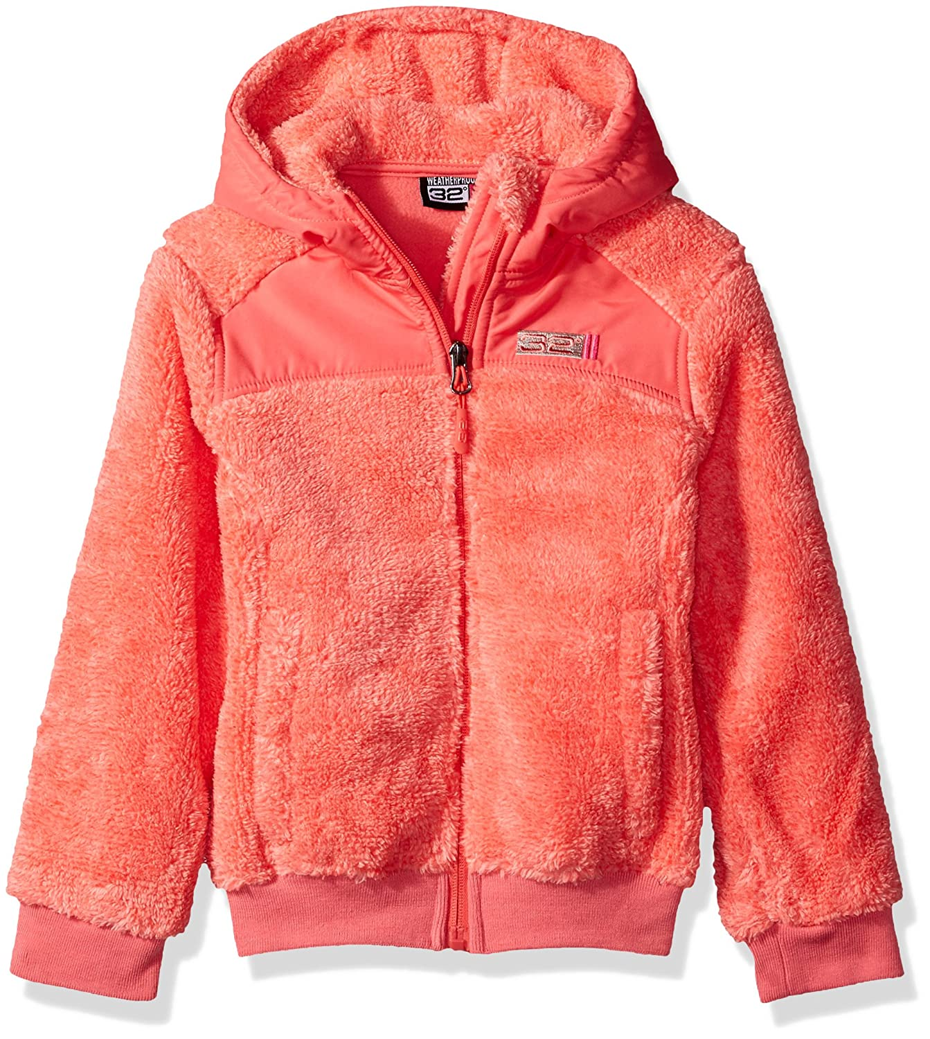 32 DEGREES Weatherproof Toddler Girls Outerwear Jacket (More Styles Available), Two Toned-WG198-Coral, 4T