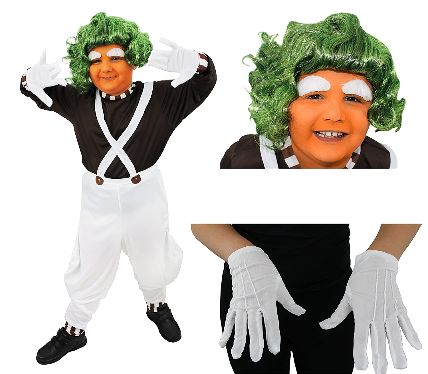Chocolate Factory Worker Kids Fancy Dress Oompa Loompa Boys Girls Book Costume