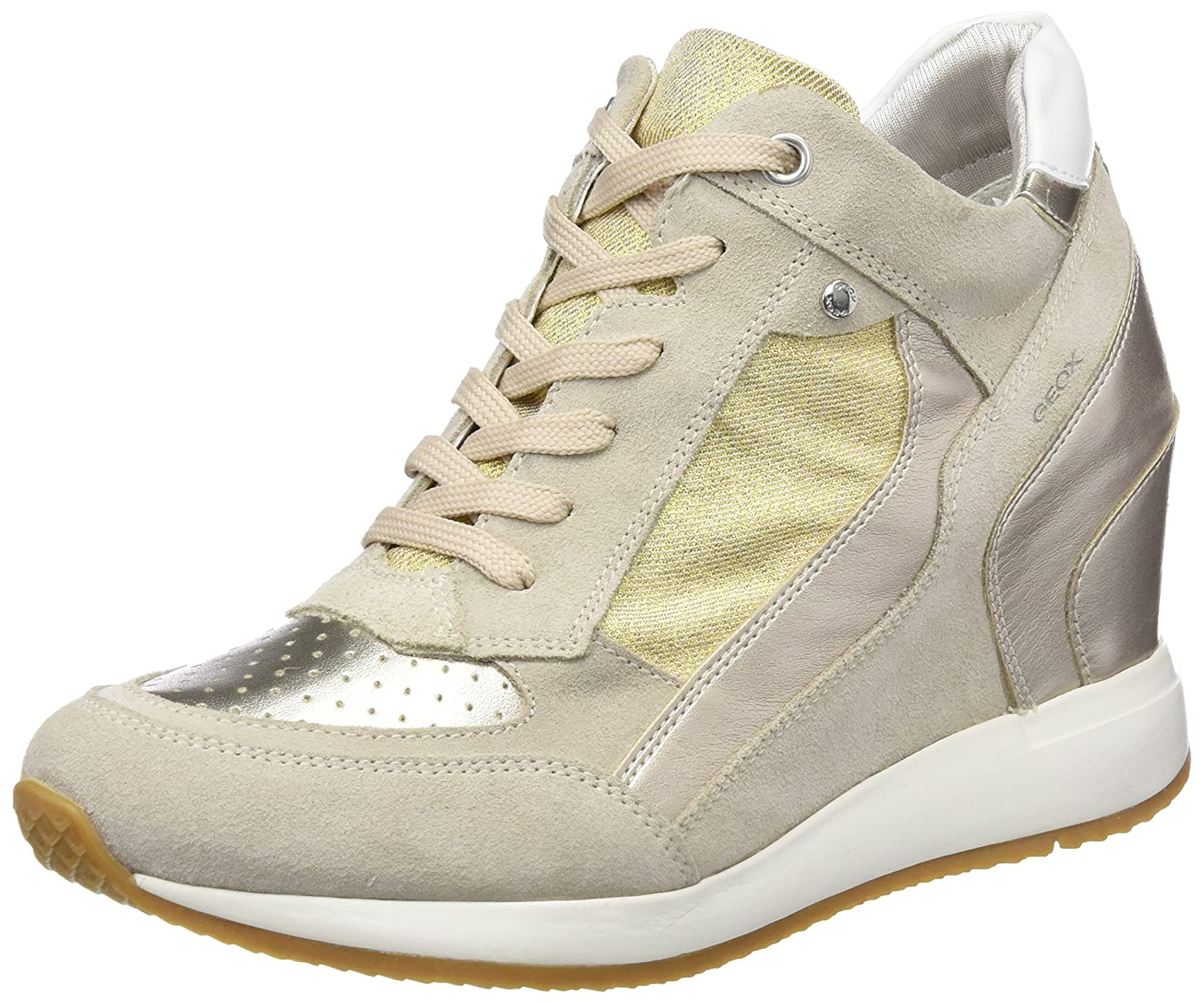 Geox Nydame, Hauszapatos Altas para mujer Beige (Lt Taupe  Lt oro)