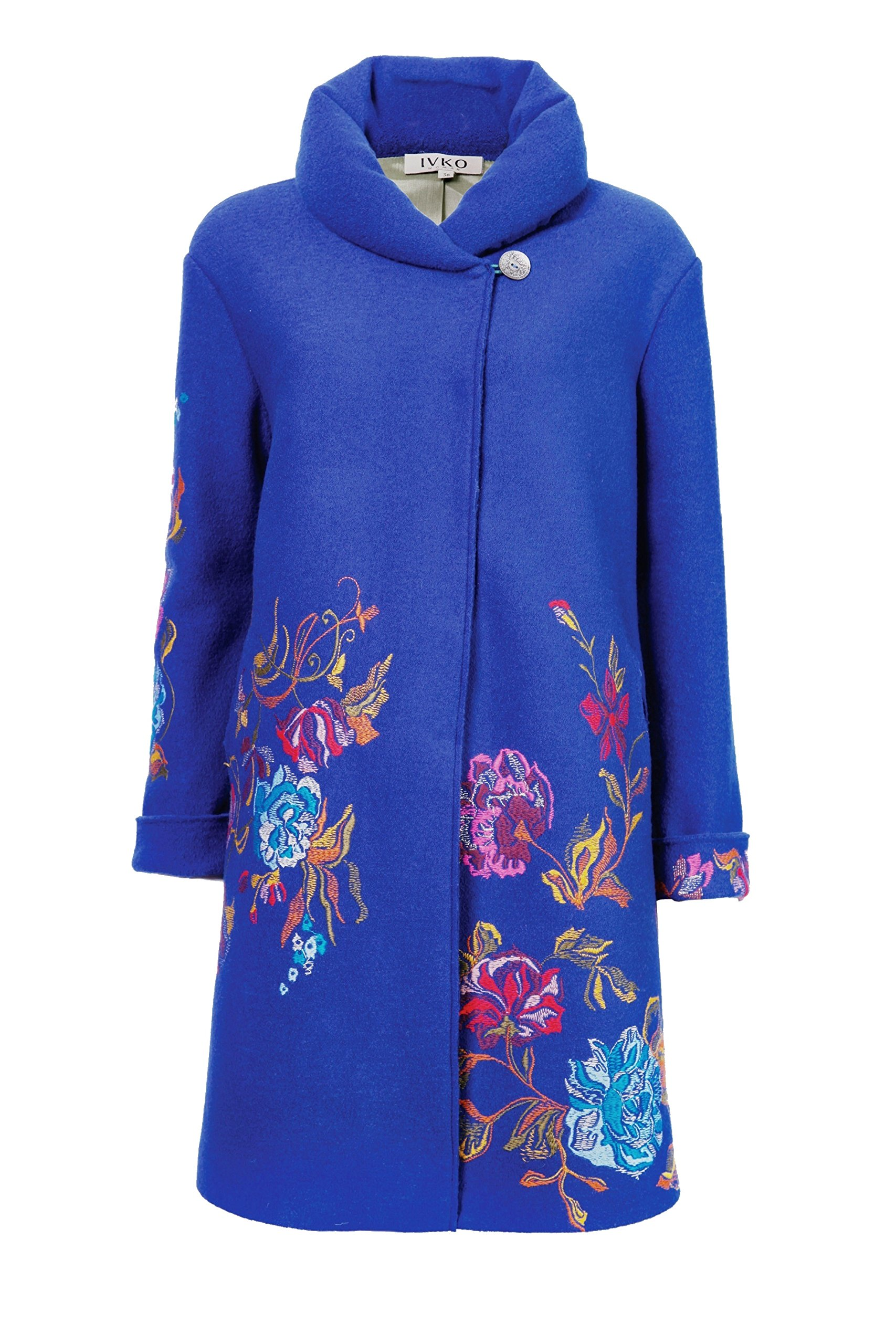 IVKO Long Merino Wool Coat with Embroidered Flower Designs, Blue, US 8 - EUR 38