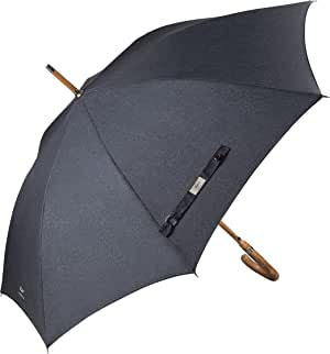 Balios (Designed in Britain Prestige Walking Stick Umbrella-Luxury Chestnut Wood Crook Handle-Bamboo Shaft-Windproof Fiberglass Frame-Auto Open 300T Finest Fabric