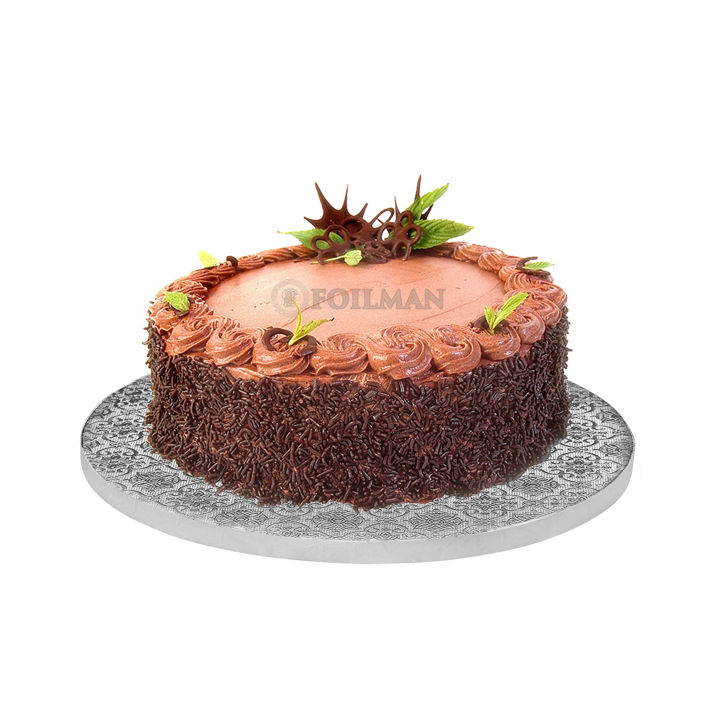 12'' Inch Round Drum Cake Boards for Decorating Cakes ½ Inch Thick - with Coated With Square Flower Embossed Foil - Covers Top & Sides of Bakes - Sturdy, Elegant Boards (Pack of 12)