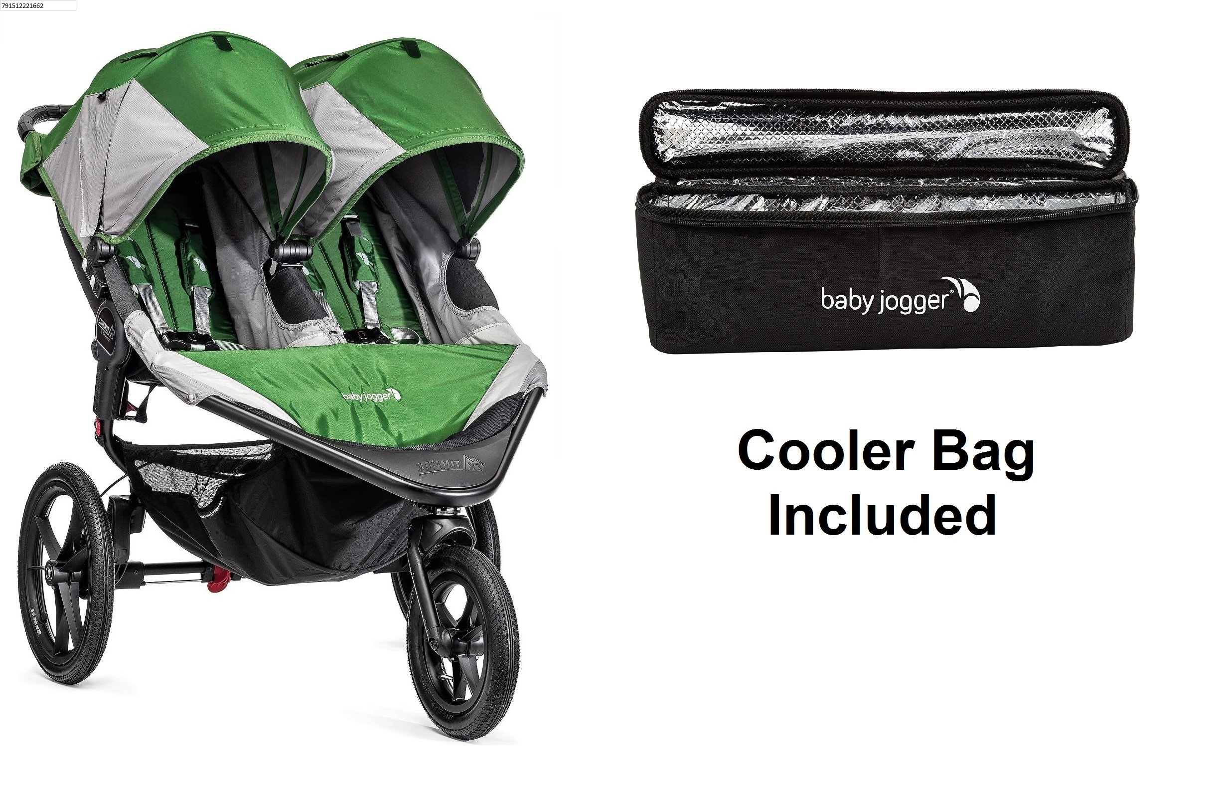 Baby Jogger 2016 Summit X3 Double - Green/Gray with Cooler Bag
