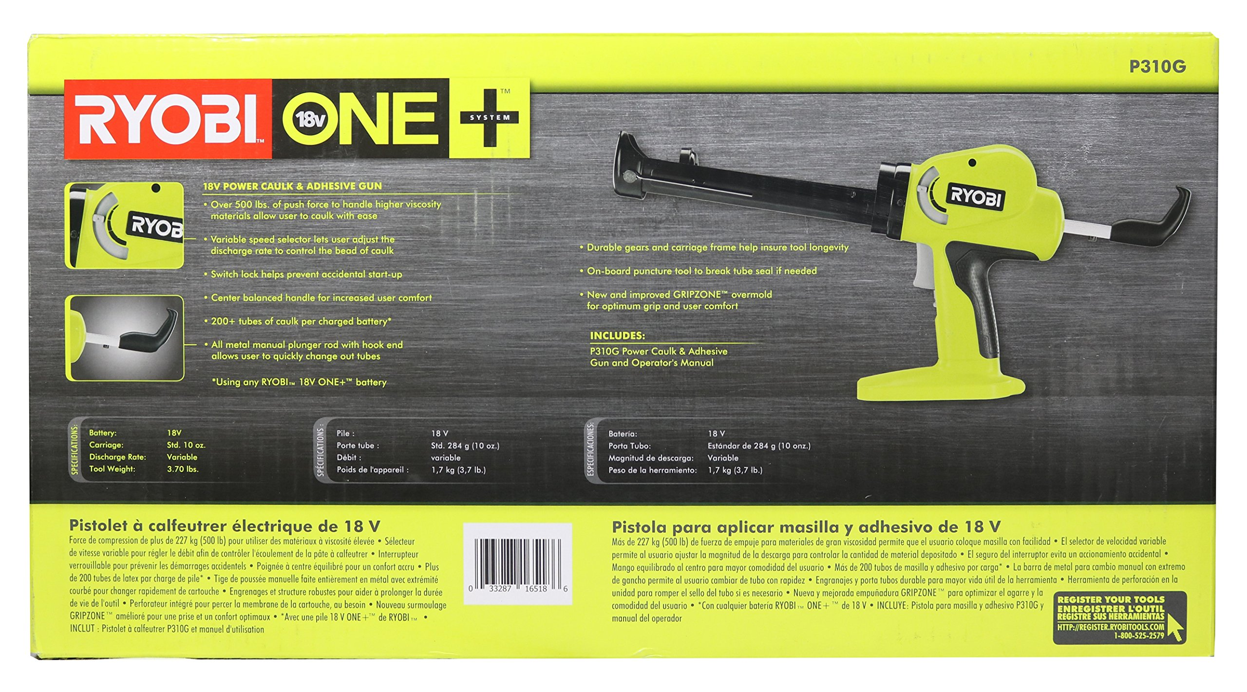 Ryobi P310G 18v Pistol Grip Variable Discharge Rate Power Caulk and Adhesive Gun (Tool Only, Holds 10 Ounce Carriage) by Ryobi (Image #9)