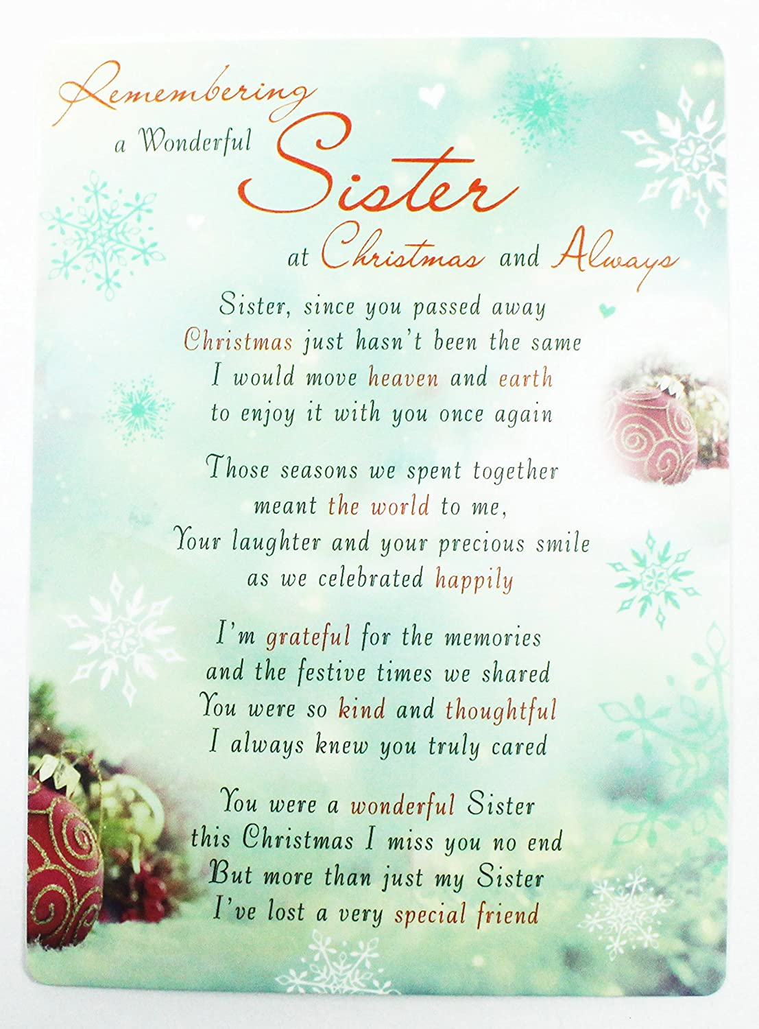 Christmas Memorial Card Graveside Poem Wonderful Sister Grave