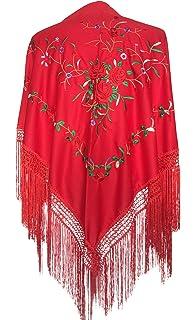 ed908db57362 La Senorita Foulard Ceinture Chale De Danse Flamenco Broderie Frange rouge  Roses rouge