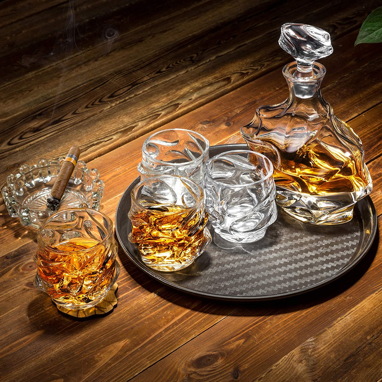 KANARS WD09 Jarra de Whisky, 5 Piezas, 100% Libre de Plomo Cristalino Resistente Botella de Whisky Set para Scotch, Bourbon, 750ml Decantador y 4 ...