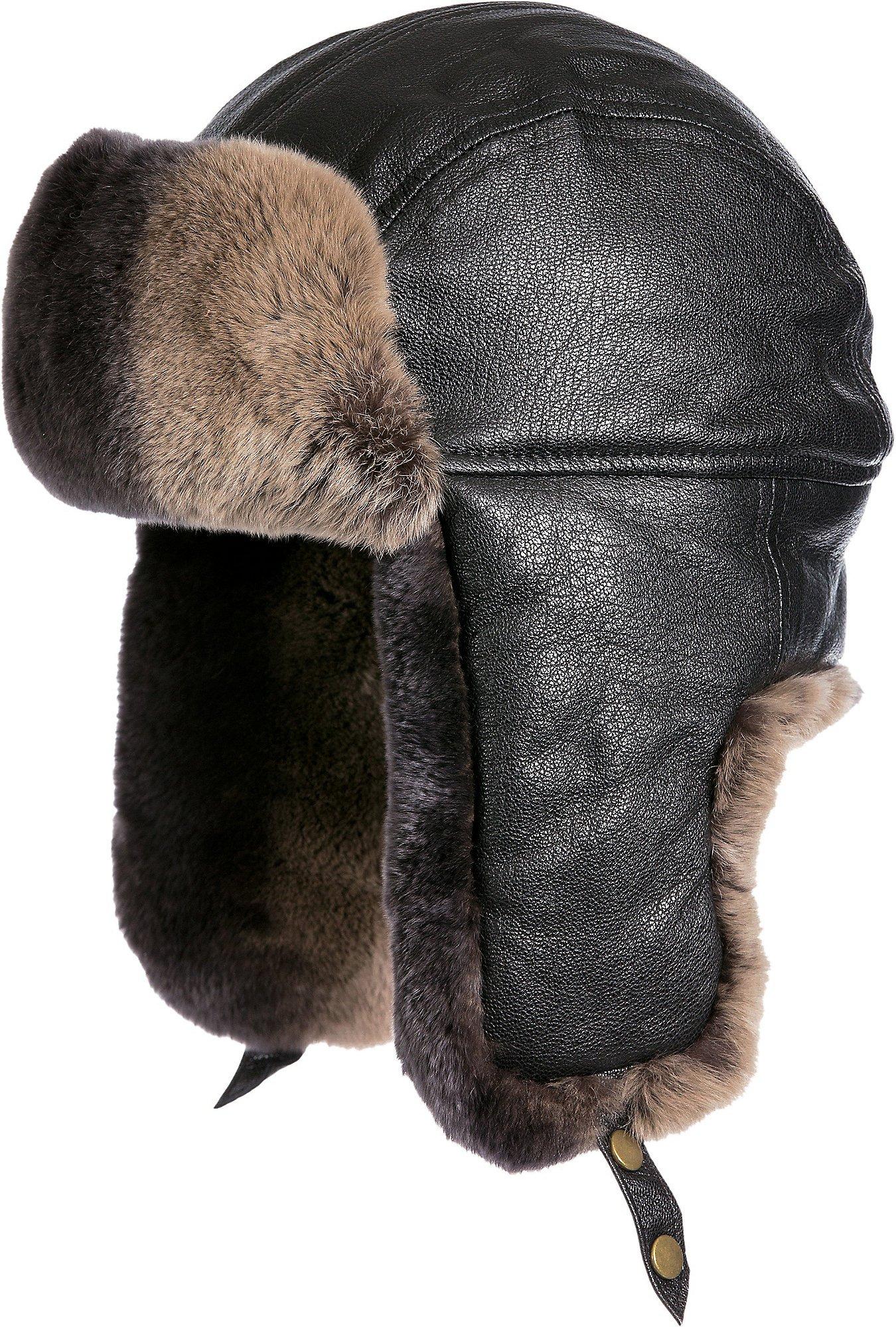 Lambskin Leather Trapper Hat with 2-Tone Rabbit Fur Trim, Black/Brown, Size XLarge (7 1/2–7 5/8)