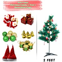 Zest 4 Toyz 2 Feet Christmas Pine Tree with 2 Santa Cap & 100 Pcs Tree Decoration Set for Christmas Home Decor (Balls, Bells, Gifts, Drums, Candy Sticks & Santa Claus)