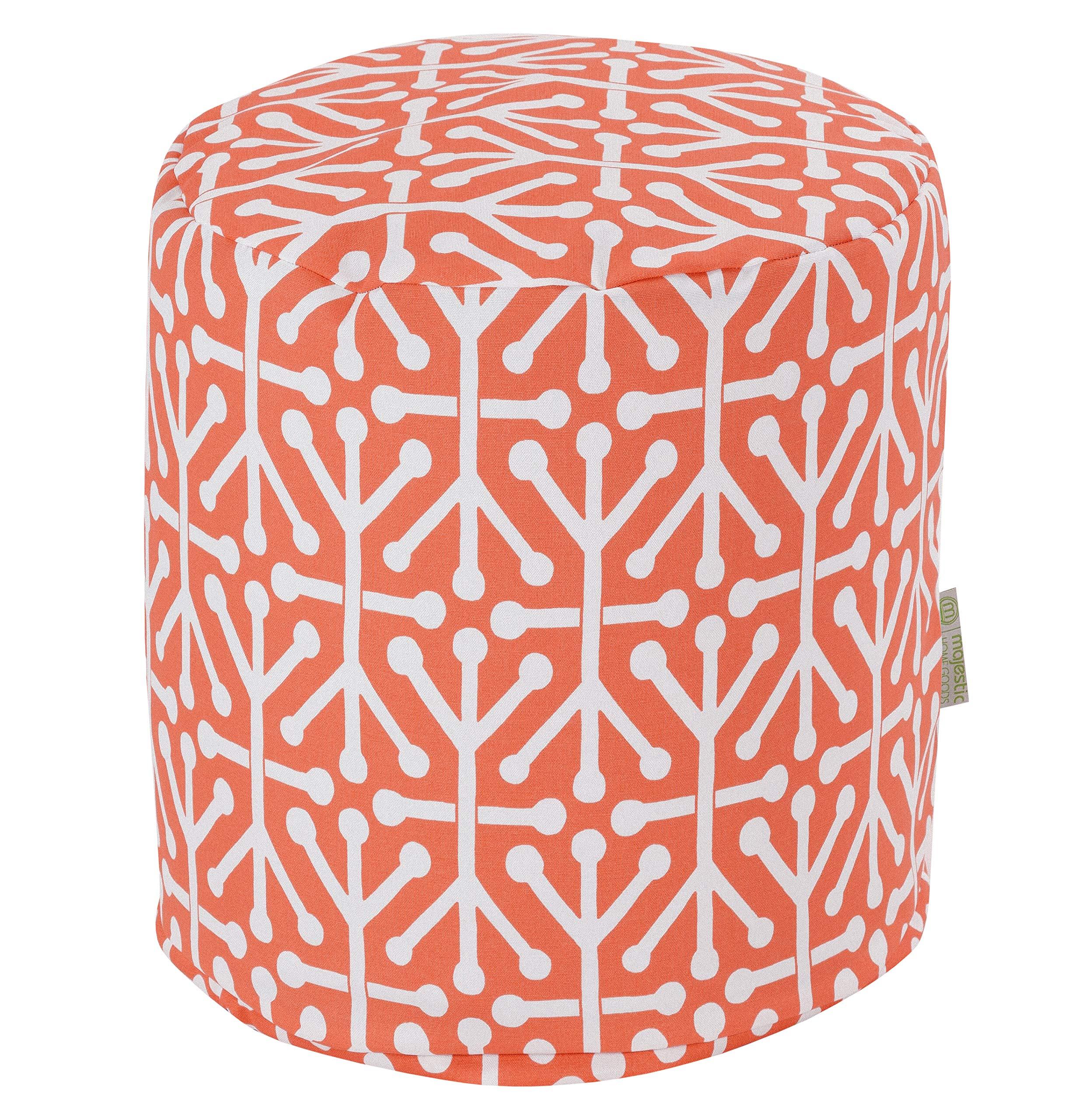 Majestic Home Goods Orange Aruba Indoor/Outdoor Bean Bag Ottoman Pouf 16'' L x 16'' W x 17'' H