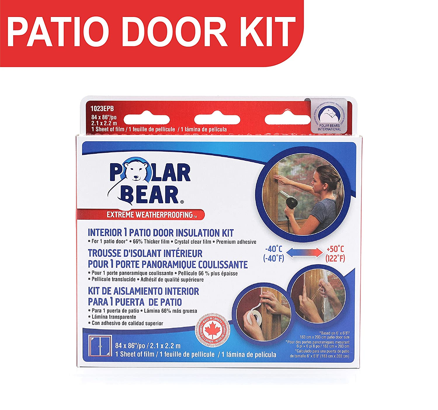 Polar Bear Weatherproofing Extreme Patio Door Insulation Film Kit