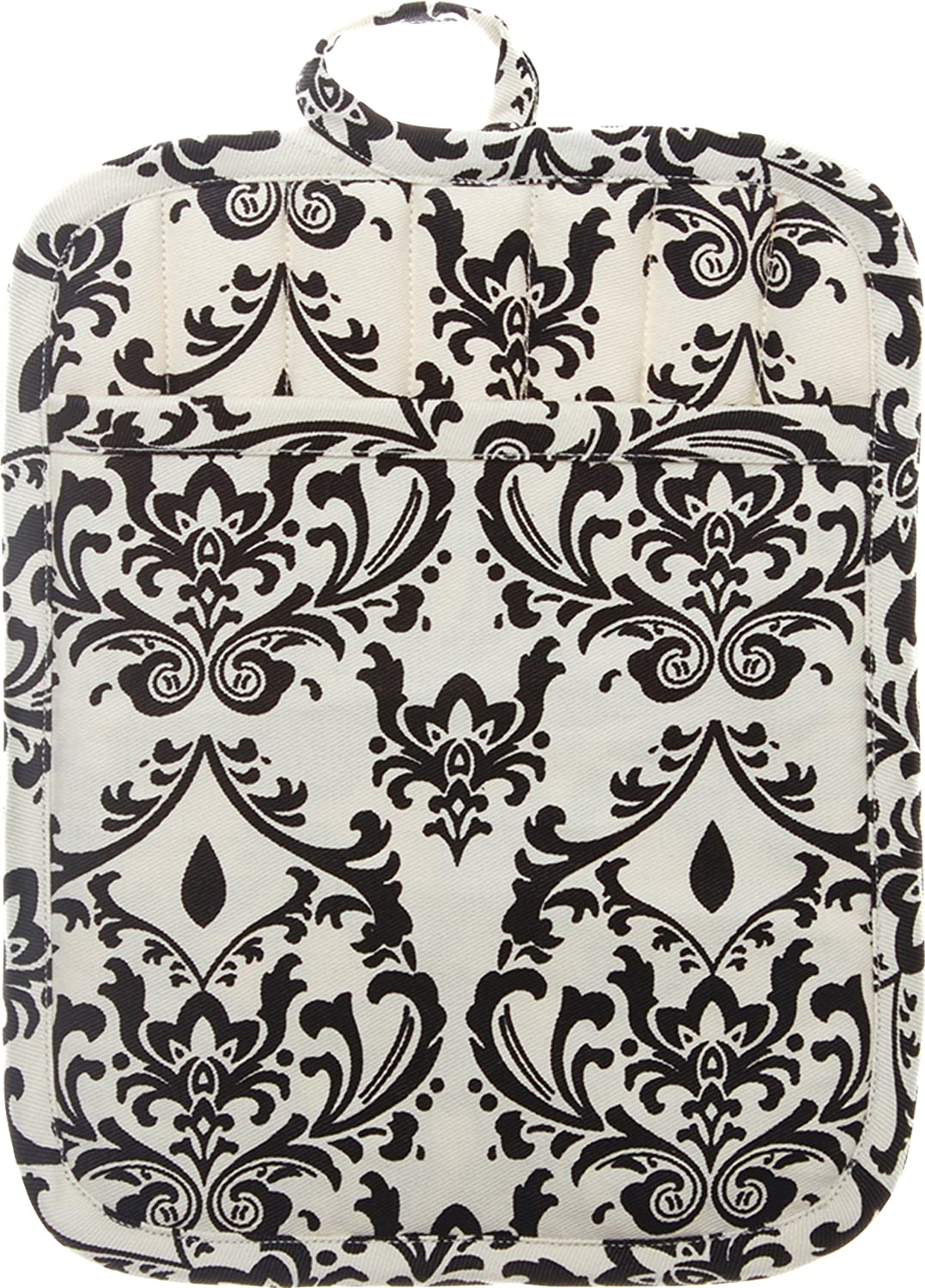 HIC Brands that Cook 02912 8 by 8-Inch Gourmet Classics Chandelier Scroll Motif Pot Mitt (Black/White)