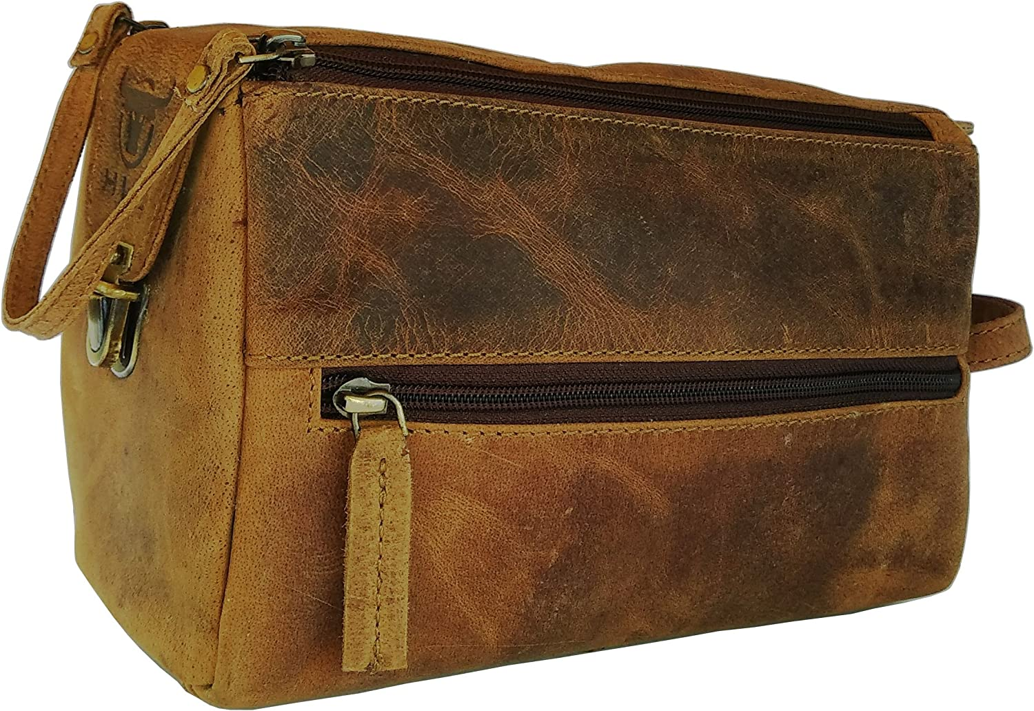 Genuine Buffalo Leather Unisex Toiletry Bag Travel Dopp Kit By Vintage Couture BROWN BUCKLE