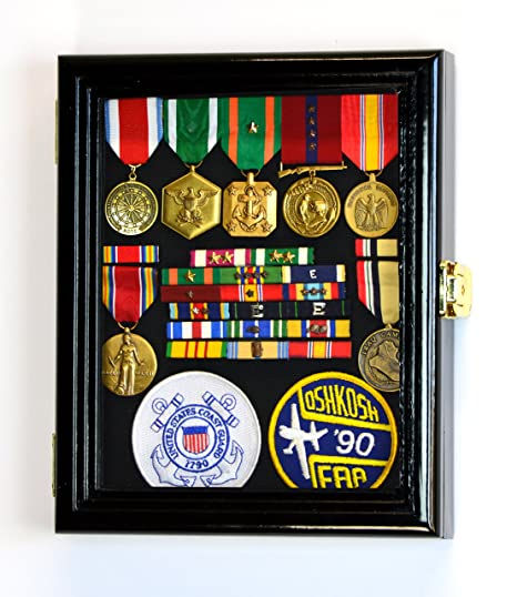 XS Display Case Cabinet Box for Military Medals Pins Patches Insignia  Ribbons w/UV Protection -Black